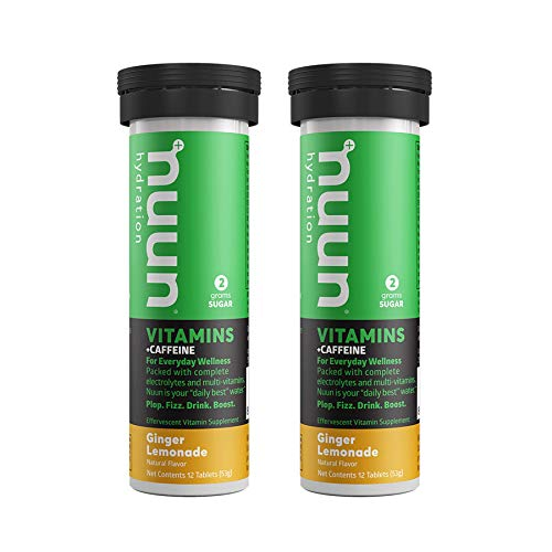 Nuun Vitamins + Energy: Ginger Lemonade Daily Supplement (2 Tubes of 12 Tablets)