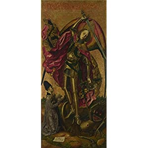 Oil Painting 'Bartolome Bermejo - Saint Michael Triumphs Over The Devil,1468' Printing On Perfect Effect Canvas , 10x23 Inch / 25x57 Cm ,the Best Game Room Decor And Home Artwork And Gifts Is This Replica Art DecorativeCanvas Prints