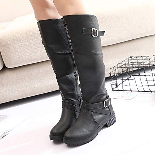 Flat Ladies Dress 35 Boots Long Fashion High Womens Boots Party Winter Anokar Knee Zip Brown Buckle Leather Black Black Shoes Low Heel 43 Green qaX81Yw