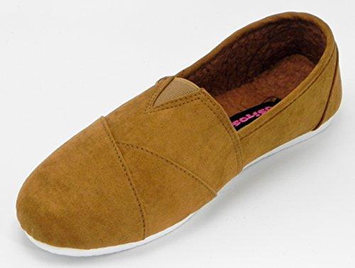 Mocassini Da Donna Multi Color Mocassino Slip On Mocassini Sneaker Scarpe Da Ginnastica Plimsoll Tan-1