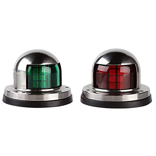 Semoic One Pair Marine Boat Yacht Light 12V Stainless Steel Led Bow Navigation Lights Pontoons Sailing Signal Lights (Red & Green) ()