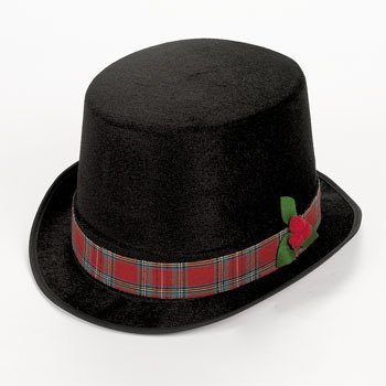 Fun Express 4/4637 Holiday Caroler Black Top Hat with Plaid Trim - http://coolthings.us