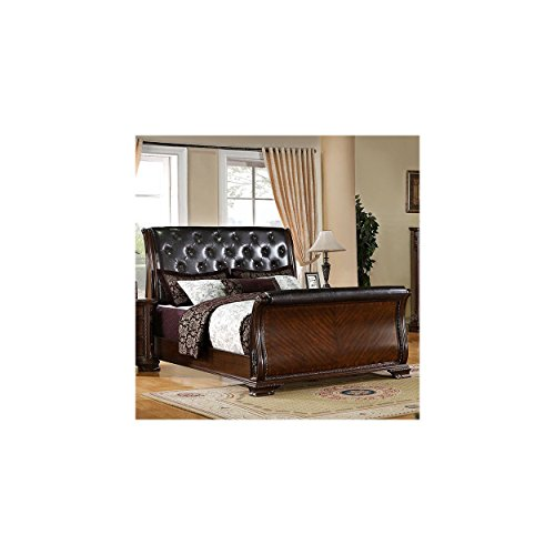 FA Furnishing Haverfield Baroque Leather Sleigh Eastern King Bed in Brown Cherry