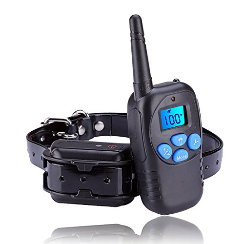 iPetFamily shock collar dog training collar dog bark collar/Vibration/Beep 330Yds 100 Adjustable Levels Rechargeable and Rainproof All Size Dogs (10 lbs-100 lbs)Bark Collar,Shock Collar For Dogs.