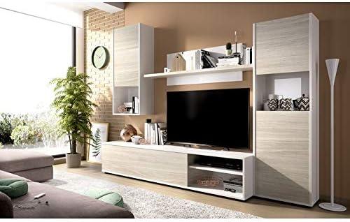HABITMOBEL Mueble Salón Comedor Modular en Blanco y Gris (Reversible): Amazon.es: Hogar
