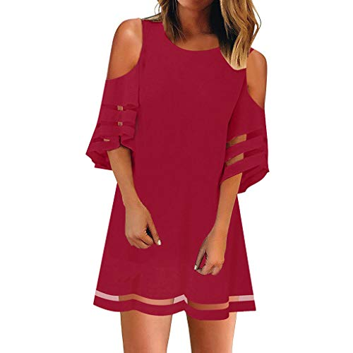 (Masun Women's Perspective Striped Top 3/4 Flare Sleeve Loose Cold Shoulder Elegant Top Dress Red)