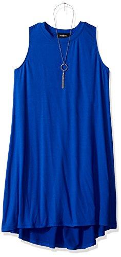 Amy Byer Girls' Big Sleeveless A-Line High-Low Dress, Cobalt Blue M
