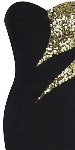 Incrociato Abito Nero Tesoro fashions Classico donna da spalline Nero sera bianco Oro Senza Angel XwOqxfI6zI