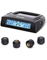 Tymate Tire Pressure Monitoring System - Solar Charge, 5 Alarm Modes, Auto Backlight & Smart LCD Display, Auto Sleep Mode, with 4 External TPMS Sensors (0-87 PSI)
