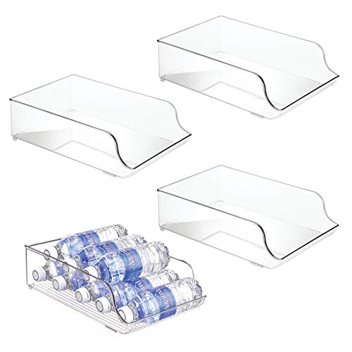 mDesign Wide Plastic Kitchen Water Bottle Storage Organizer Tray Rack - Holder and Dispenser for Refrigerators, Freezers, Cabinets, Pantry, Garage - 4 Pack, Clear