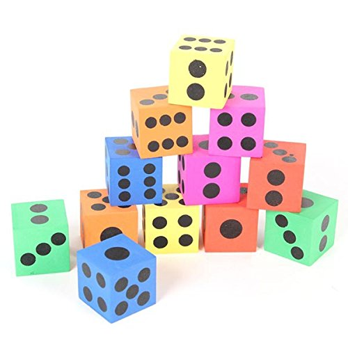 12 Pcs Colored Foam Playing Dice, 1.5 Inches - Foam Playing Dice