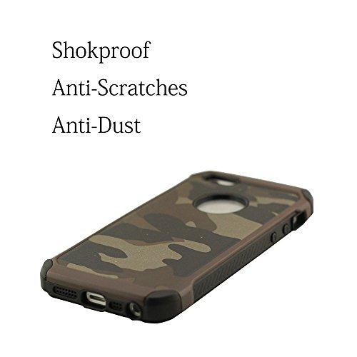 iPhone 5 & 5S Coque de Protection Couleur Camouflage, étui pour iPhone 5S, iPhone 5 & 5S Case Dur Plastique Anti-collision anti-rayures anti-poussière Double couche Design