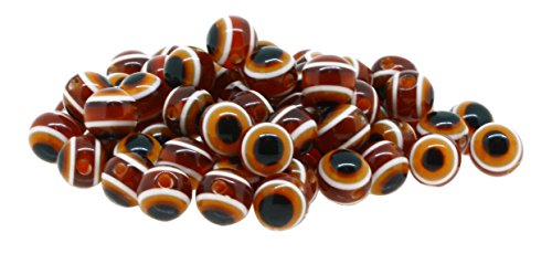Mandala Crafts Wholesale Jewelry Making 150 8mm Resin Loose Evil Eye Beads (Brown)