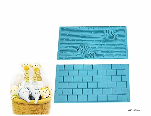 Price comparison product image OKUBOX BT116 Cake Supplies Tree Bark and Brick Wall Impression Mat Textured Fondant Cake Press Mould(Blue, 2pcs)