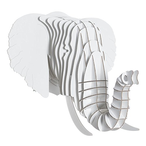 White Birch Head - Cardboard Safari Recycled Cardboard Animal Taxidermy Elephant Trophy Head, Eyan White Medium
