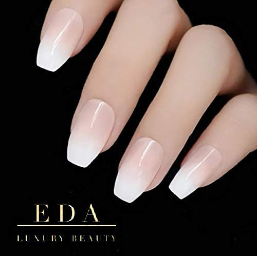 EDA LUXURY BEAUTY NATURAL NUDE PINK WHITE OMBRE FRENCH GLAMOROUS DESIGN Full Cover Press On Gel Glitter Nail Tips Shiny Acrylic False Nails Extra Long Ballerina Square Coffin Super Fashion Fake Nails