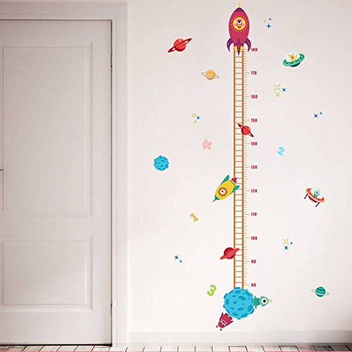 BIBITIME Space Planet Aliens UFO Rocket Height Chart Stickers for Girl Nursery Growth Charts Measurement Ruler Children Baby Kids Room Decor Wall Decal Art Mural