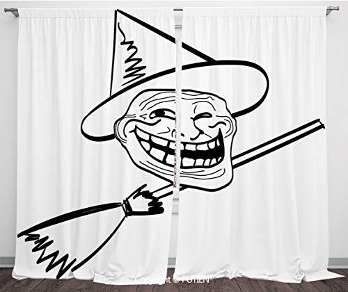 Satin Window Drapes Curtains [ Humor Decor,Halloween Spirit Themed Witch Guy Meme Lol Joy Spooky Avatar Artful Image,Black White ] Window Curtain Window Drapes for Living Room Bedroom Dorm Room Classr
