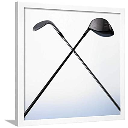 Amazon.com: ArtEdge Two Golf Clubs White Framed Wall Art Print ...