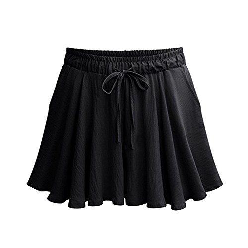 Women's Elastic Waist Casual A Line Culottes Wide Leg Shorts with Drawstring Black Tag L-US (A-line Cotton Shorts)