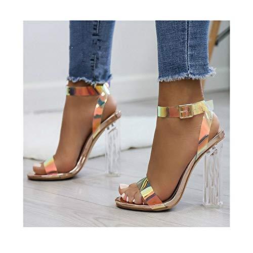 cqkj Women Sandals ShoesPVC Clear Transparent High Heels (CTMG Gold,7)