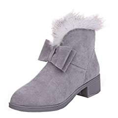 Faux Fur Winter Snow Boots Casual Bowtie Suede Flat Platform Ankle Booties By Dear Time