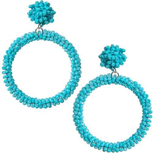 Humble Chic Beaded Hoop Earrings for Women - Statement Big Hoops Bohemian Circle Round Drop Dangles, Simulated Turquoise Dangles, Silver-Tone Beaded Silver Tone Earrings