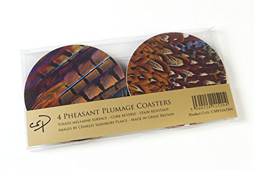 Melamine Coasters (4 Pheasant Plumage or Feather Coasters. A great hunting gift.)