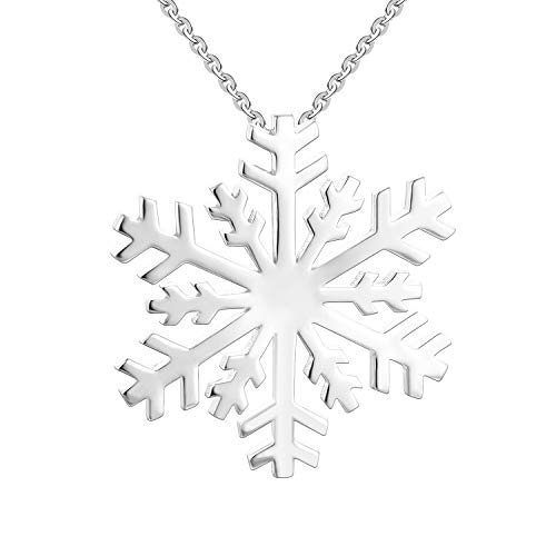 JO WISDOM 925 Sterling Silver Winter Large Snowflake Pendant Necklace,18+2