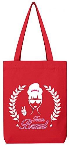 ShirtStreet Braut Security Junggesellinnenabschied JGA Premium Bio Baumwoll Tote Bag Jutebeutel Stanley Stella Team Braut Award Kombi Red