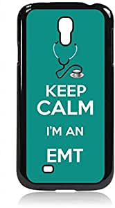 Keep Calm I'm an EMT-Teal - Hard Black Plastic Snap - On Case-Galaxy s4 i9500 - Great Quality!