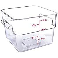 Cambro 12SFSCW135 Recipiente de almacenamiento de alimentos cuadrado Camwear de 12 cuartos de galón, policarbonato, transparente, NSF
