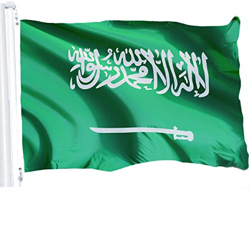 G128 - Saudi Arabia Flag 3x5 ft Printed Brass Grommets 150D Quality Polyester Flag Indoor/Outdoor - Much Thicker More Durable Than 100D 75D Polyester