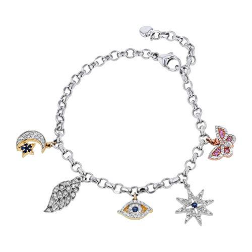 Olivia Paris 14K Tri Color Gold Diamond Sapphire Charm Bracelet, (3/4 ctw, H-I, SI2-I1) 7.75-8.25