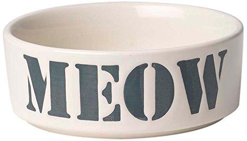 (Pet Rageous 2 Cup Seaside Stencil Meow Bowl, 5, Natural/Ocean Blue by PetRageous)