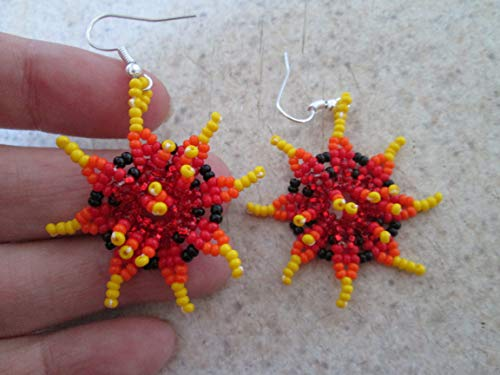 flower red orange yellow black floral hand beaded dangle earrings Native American style southwest huichol mexican folk art 3D style design beadwork