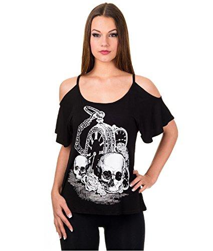 Banned Crâne Montre Top T-Shirt manches courtes Noir