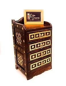 Onlineshoppee Bedside Table with 4 Storage Drawers (Mango Wood,Walnut)