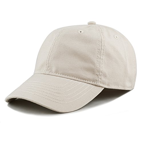 THE HAT DEPOT 100% Cotton Canvas 6-Panel Low-Profile Adjustable Dad Baseball Cap (Putty)