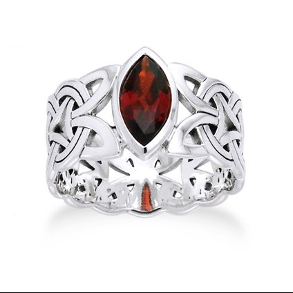 Borre Knot Garnet Ellipse Viking Braided Wedding Band Norse Celtic Sterling Silver Ring