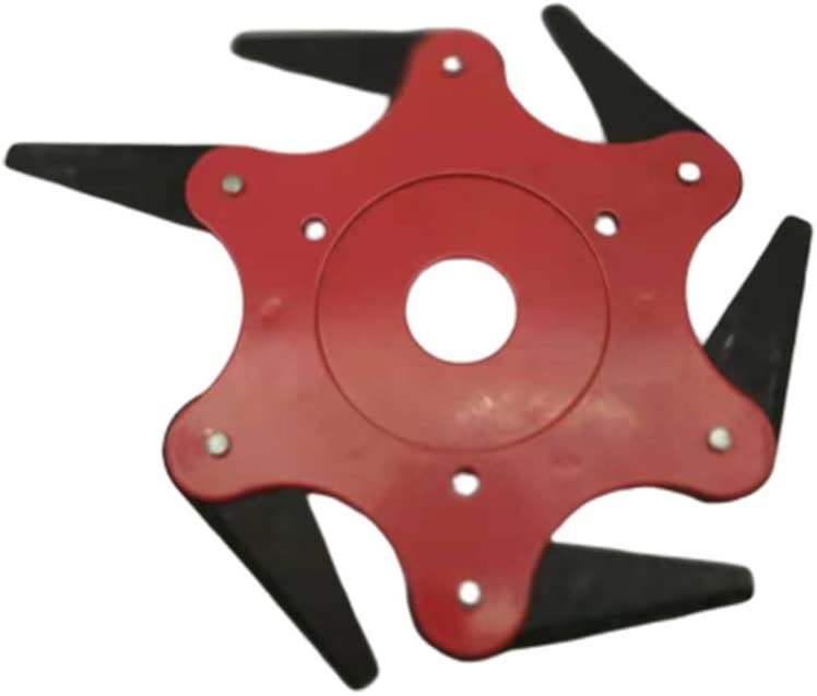 Boyang Cabezal del cortacésped, Disco Desbrozadora de 6 Dientes Cuchilla, Cuchillas para Accesorios prácticos para máquinas herbicidas, Corte de 360 ° sin ángulo Muerto Rojo
