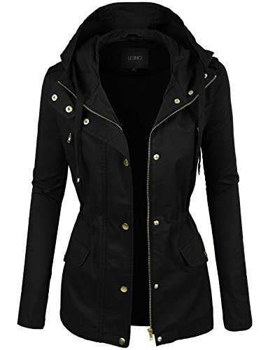 (LE3NO Womens Lightweight Cotton Military Anorak Jacket with Hoodie)