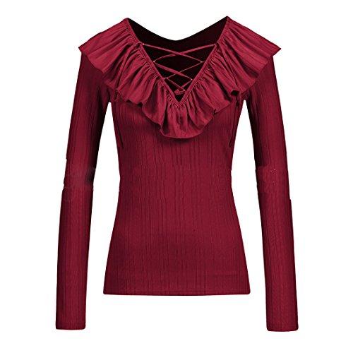 Blouse Feuille Fashion Chemisiers t C Rouge T OUFour de Printemps V et Lotus Automne Couleur Shirts Longues Slim Jumper Tee Tops Col Hauts Femmes Unie Manches wzSvqa8X