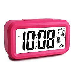 EWTTO Smart Digital Desktop Large LCD Display Alarm Clock with Calendar Temperature Snooze Backlight 4.6'' Display (Hot Pink)