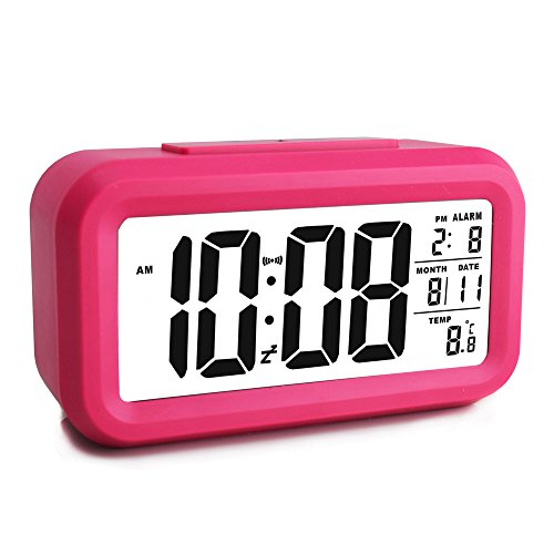 - Ewtto Smart Digital Desktop Large LCD Display Alarm Clock with Calendar Temperature Snooze Backlight 4.6'' Display (Red, 4.6inches)