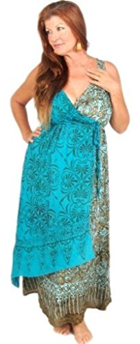 Lotustraders Dress Maxi Empire Cross Over Batik Green Turquoise Medium D444 ()