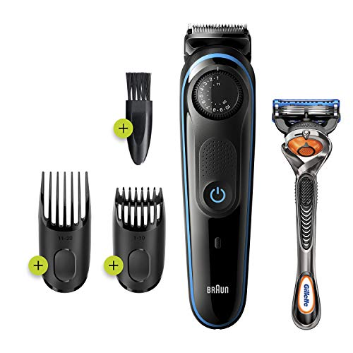 Braun Beard Trimmer BT3240, Beard Trimmer for Men and Hair Clipper, 39 Length Settings, Black/Blue