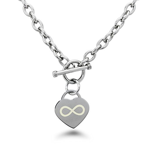 Stainless Steel Infinity Symbol Engraved Heart Tag Charm - Co Infinity Tiffany And