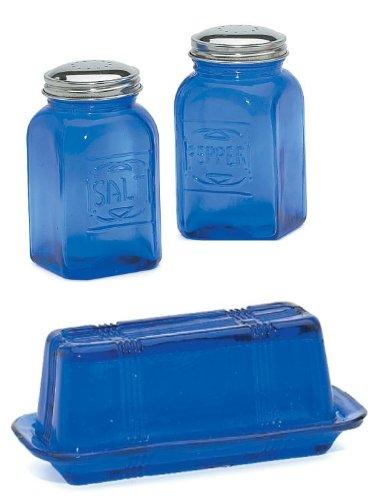 Cobalt Blue Vintage Salt & Pepper Shaker Butter Dish Set