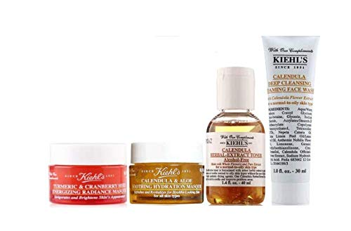 4-Piece Gift Set: Cleansing Face Wash, Hydrating Masque, Herbal-Extract Toner, Turmeric & Cranberry Seed Masque